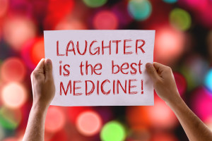 Laughter Is The Best Medicine card with bokeh background